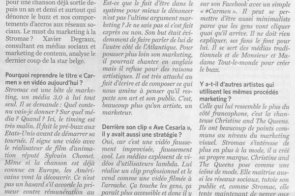 """Stromae : """"Une bête de marketing"""" (mon interview dans Le Soir)"""