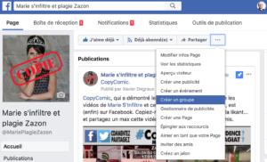 Exemple création groupe Facebook de page